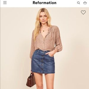 Reformation Jean button up mini skirt